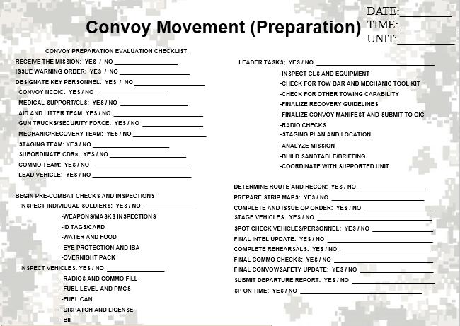 Convoy Movement Evaluation Checksheet