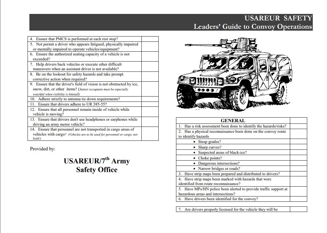 Convoy Checklist