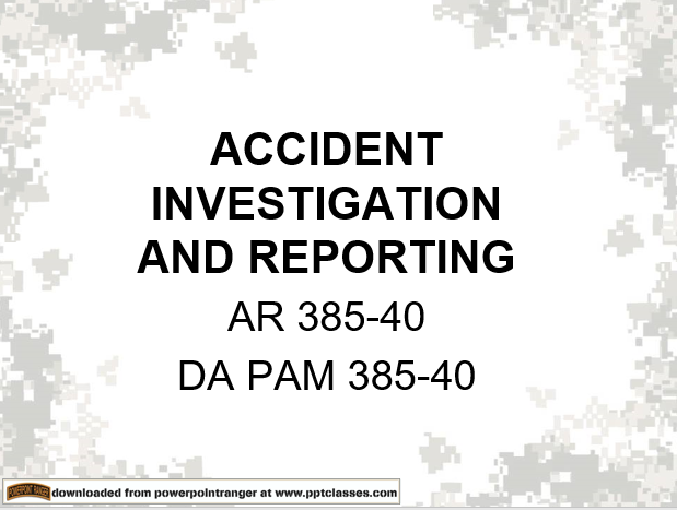 Accident investigating and reporting