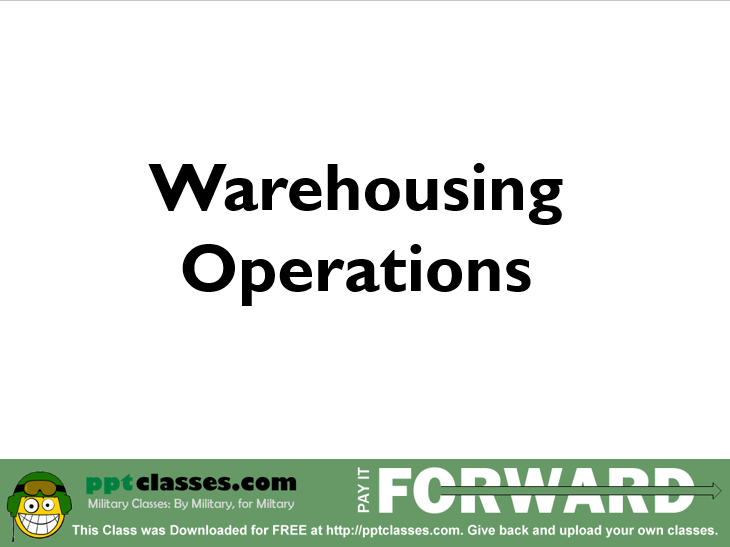 Warehousing Operations