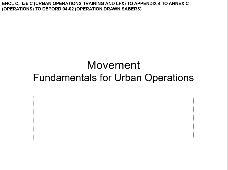 A power point class on movement of urban operations