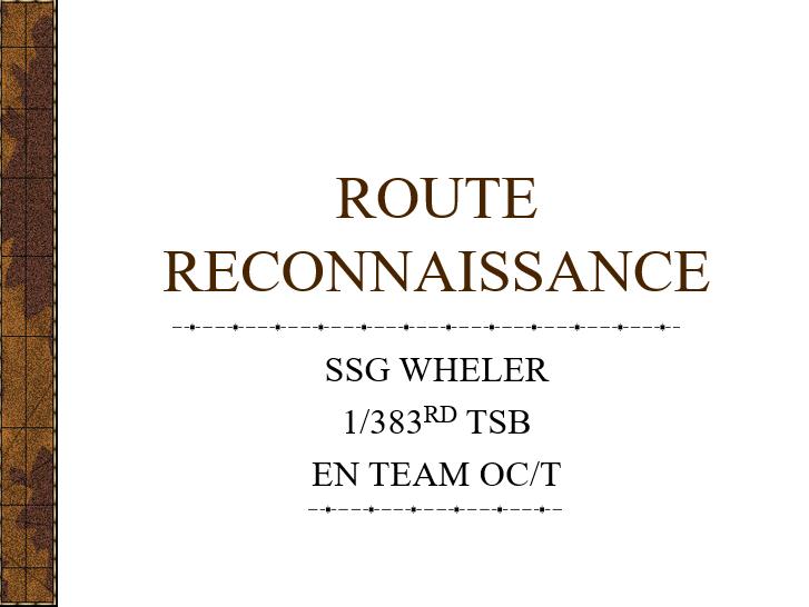 Conduct a Route Recon