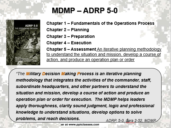 A power point class on the military decision making process (MDMP)