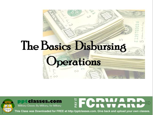 Disbursing Training