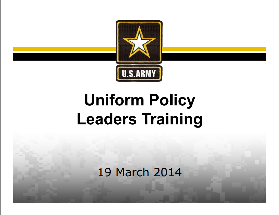A power point class on uniform policy leaders training