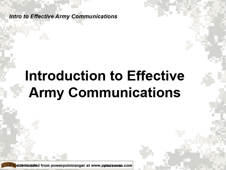 Introduction to Effective Army Communication