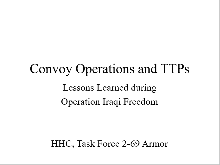Convoy Ops Lessons Learned and TTPs