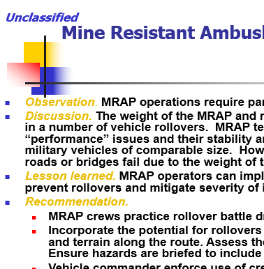MRAP Safety Lessons Learned
