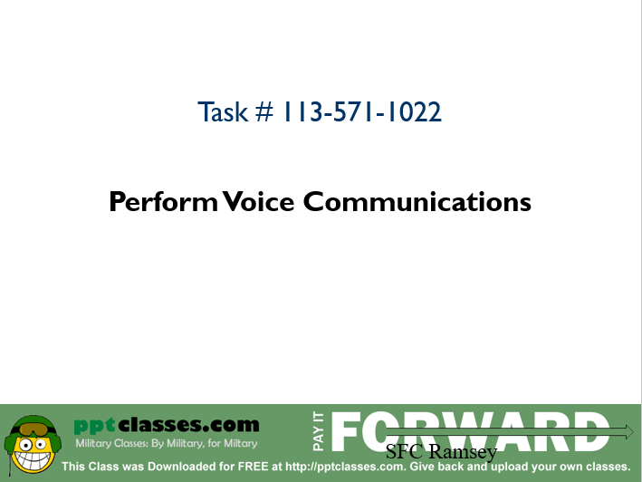 Perform Voice Communication II