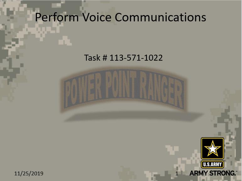 Perform Voice Communication III