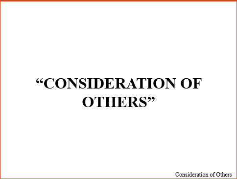 Consideration of Others Archive