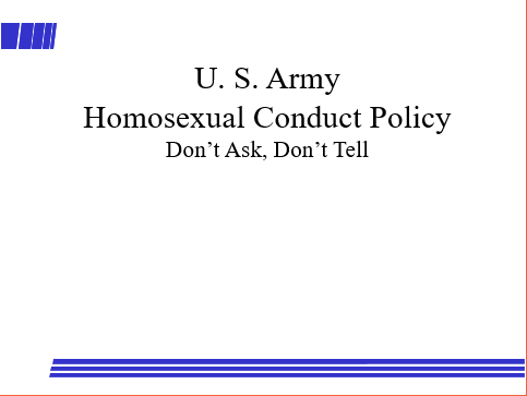 Equal Opportunity/ Homosexual BriefingEqual Opportunity/ Homosexual Briefing