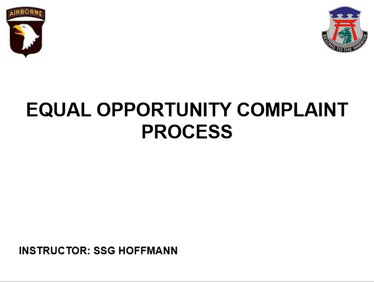 Equal Opportunity, Formal and Informal Complaint Procedures
